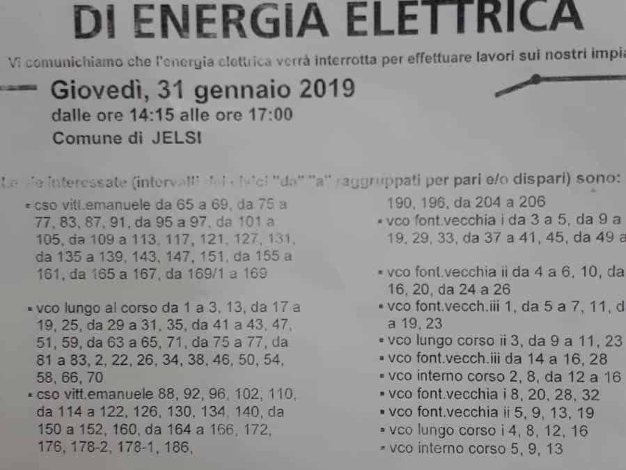 Avviso-interruzione flusso elettrico